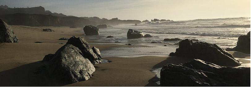 Waves on rocky beach